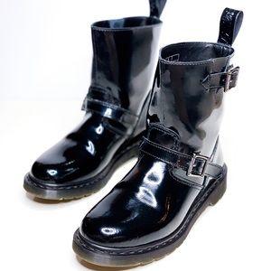 Dr. Martens VI Biker Patent Lamper Boots Size 8